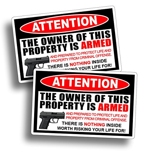 Second 2nd Amendment Warning Sticker Attention Home Owner Armed Handgun Gun Pistol Vinyl Die Cut Window Door Decal