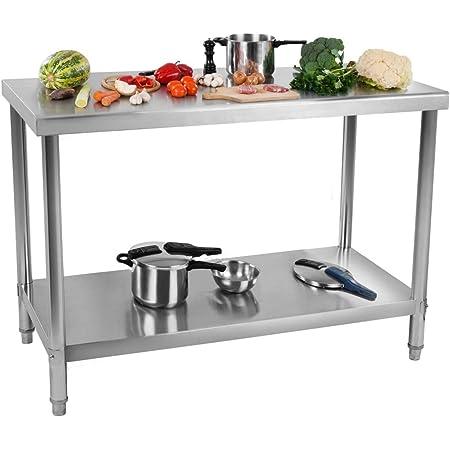 Royal Catering Table De Travail Cuisine Plan Professionnel Table Préparation Confection Boucher Avec Tablette Étagère RCAT-100/60 (Capacité : 114 kg (90 kg + 24 kg), Pieds Réglables, Inox)