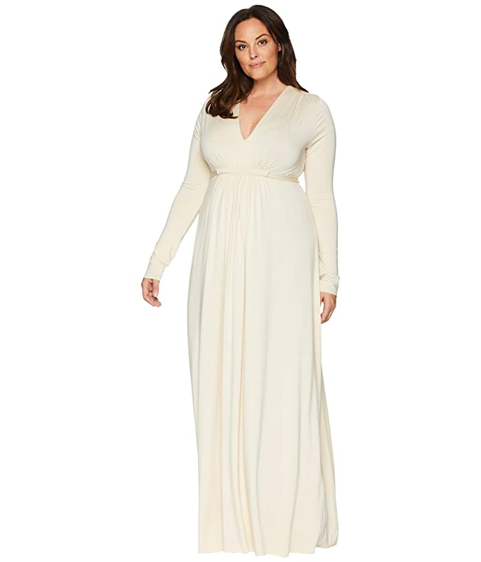 Rachel Pally Plus Size Long Sleeve Full Length Caftan (Cream) Women's Dress