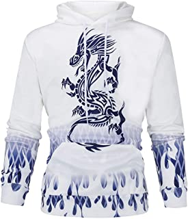 Iuhan Men Sport Hooded Sweater Fashion Mode 3D Print Long Sleeve Couples Hoodies Top Windproof Blouse Shirts Dragon Pattern