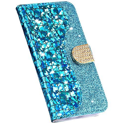 Ukayfe Compatibile con Samsung Galaxy A20/A30 Custodia in Pelle con Brillantini Glitter Bling Strass Diamante PU Leather Premium Portafoglio a Libro Stand Wallet Flip Case-Blu