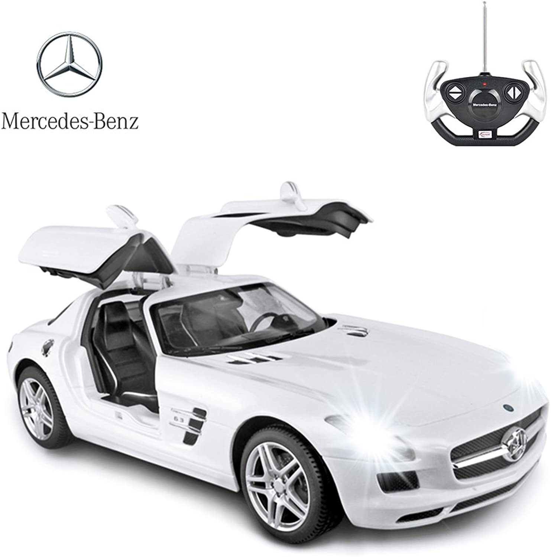 RASTAR Mercedes Benz Remote Control Car, 1 14 Scale RC Mercedes Benz SLS AMG RC Model Car, Open Doors by Manual – White