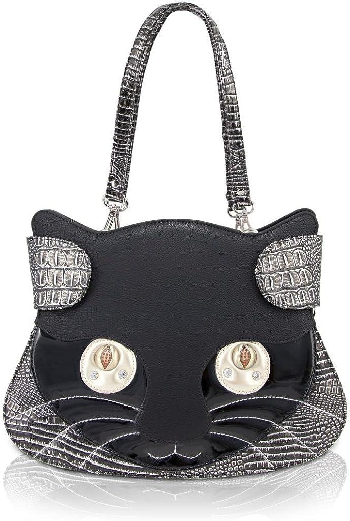 DARLING'S Kitty Cat Face Design Handbag/Shoulder Bag - Black