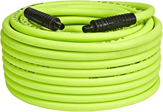 Flexzilla Air Hose, 3/8 in. x 100 ft, 1/4 in. MNPT Fittings, Heavy Duty, Lightweight, Hybrid, ZillaGreen - HFZ38100YW2