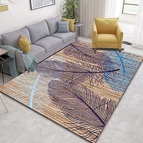 LHGBGBLN Pluma de Color 3D Alfombra Mesa de café tapetes para el Piso Sala de Estar Alfombra para el hogar Alfombra Antideslizante Alfombra para el Piso del Pasillo Alfombra para Puerta