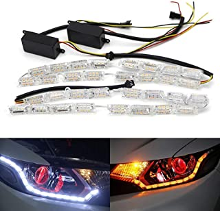 iJDMTOY (2) White/Amber Switchback LED Strip Lighting For Headlight Retrofit w/Sequential Turn Signal Feature