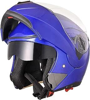 AHR Full Face Flip up Modular Motorcycle Helmet DOT Approved Dual Visor Motocross Blue M