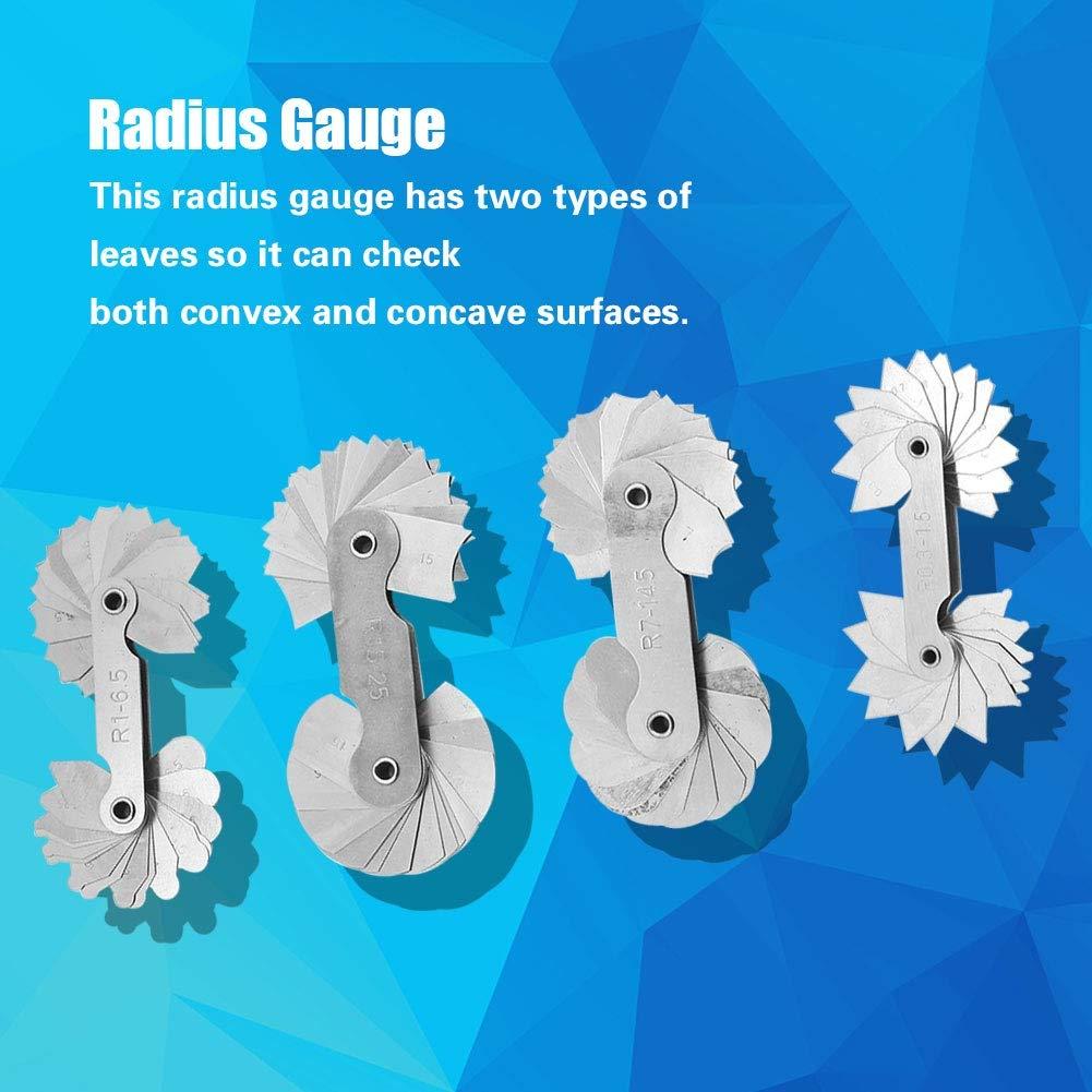 Medidor de filete herramienta de medici/ón de radio R1-6.5 R7-14.5 herramienta de medici/ón de calibre de filete de radio de acero inoxidable 4pcs R0.3-1.5 R15-25