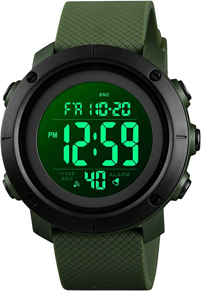 Reloj deportivo digital resistente al agua, militar, negro, grande, para hombre, con cronómetro, luz trasera LED, alarma, fecha, reloj de pulsera.