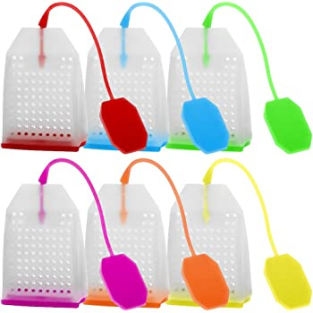 6 Pack Silicone Tea Infuser, FineGood Reusable Safe Loose Leaf Tea Bags Strainer Filter with Six Colors