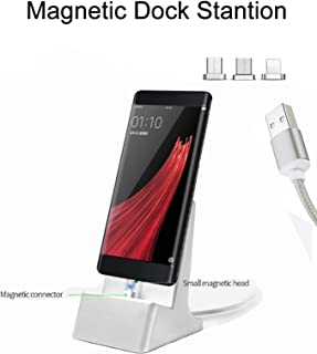 Auswaur 3 in 1 Magnetic Charger Dock Charging Station 3 Connector Charging Docking Desktop Cradle Compatible with IP and Micro-USB Android Type C Mobile Devices Tablet-Silver