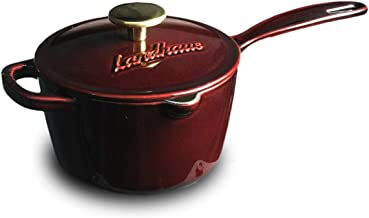 Landhaus Enameled Cast Iron Covered Sauce Pot, Pan with Lid and Two Knobs Included – 1.75 Quart (QT), Natural Non-Stick Sl...