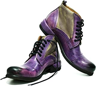 Modello Parione - Handmade Italian Mens Color Purple Ankle Boots - Cowhide Hand Painted Leather - Lace-Up