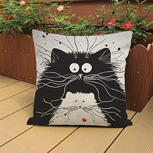 YUTING Gato Negro De Algodón Y Lino Impresión Almohada Comercio Exterior Decoración del Hogar De Lino del Amortiguador del Sofá (Color : B)