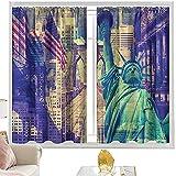 Cortinas de dormitorio American, New York Landmarks Bandera de 100 x 163 cm, bolsillo para barra de cortinas