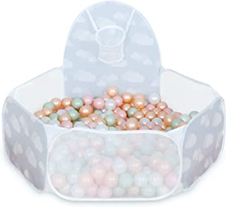 GOGOSO Ball Pit for Toddlers ,Babies Pop Up Play Tent Kids Ball Pits Playhouse with Basketball Hoop and Zipper Storage Bag, Gift for Boys Girls Birthday Christmas (Clouds)