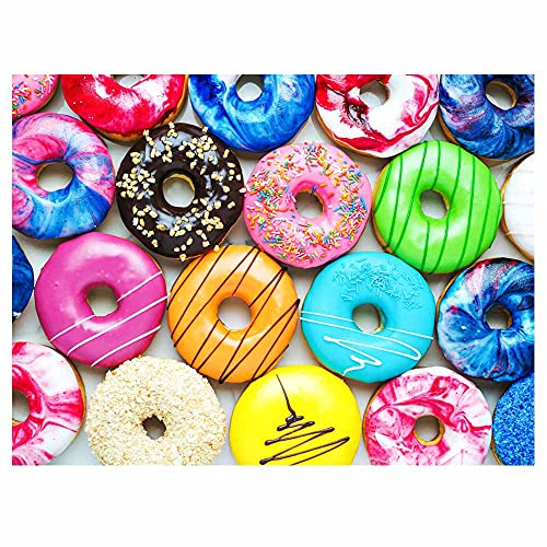 fishwisdom 500 pièces Jigsaw Puzzle Donuts pour Adultes et Adolescents et Enfants Idée de Cadeau Happy Time en Famille