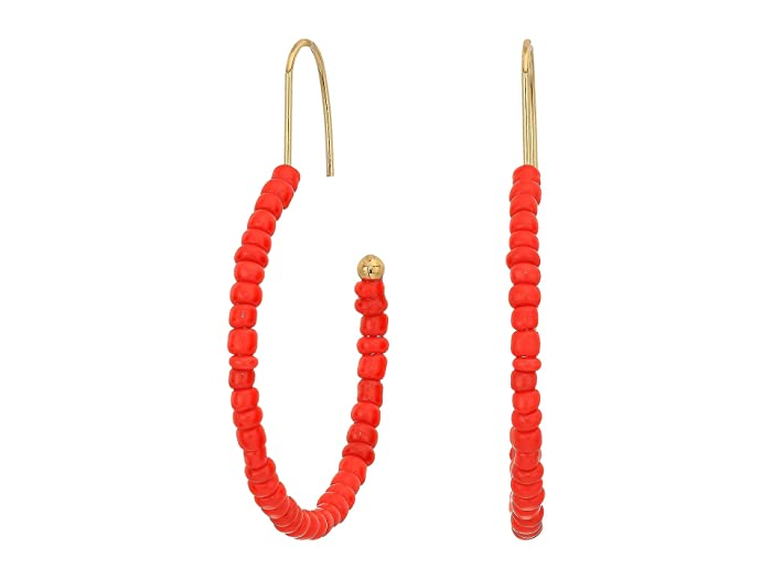 Steve Madden  Beaded Open Hoop Earrings (Yellow Gold-Tone/Red) Earring