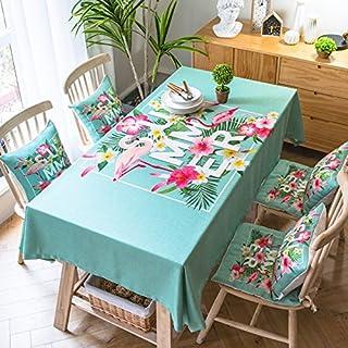 Turquoise 130*130cm Flamingo scandinave Mode Instagram Nappe en coton et lin à manger Jardin pique-nique rectangulaire ca...