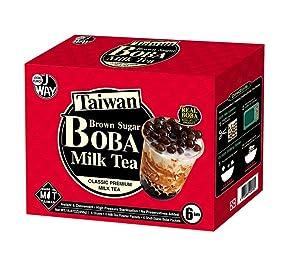 J WAY Instant Bubble Tea Kit - Classic Milk Tea with Brown Sugar Boba, 1 Box (6 Drinks)