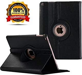"New iPad 2017 9.7"" / iPad Air 2 Leather Case,360 Degree Rotating Stand Smart Cover with Auto Sleep Wake for Apple iPad Air or New iPad 9.7 Inch 2017 Tablet (Black)"