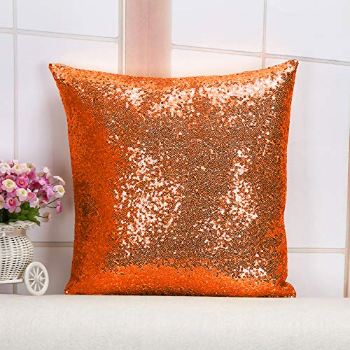Shinybeauty Throw Pillow 12X12-Orange SequinPillowCover Sofa Pillow Sparkly Pillow Designer Pillow Sequined Pillow Cover DecorativePillowsforBed