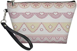 Shabby Chic Decor Useful Cosmetic Bag,Featured Borders Soft Colored Flourish Hearts Zigzag Lines Ornaments Decorative for Travel