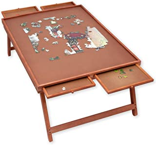 Bits and Pieces - Standard Puzzle Wooden Plateau Lounger with Cover-Smooth Fiberboard Work Surface - Puzzle Storage System
