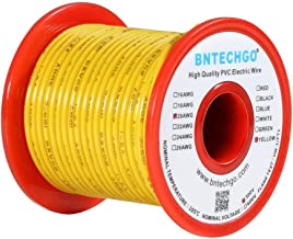 alambre de cobre esta/ñado amarillo 25 pies por carrete para bricolaje cable de alambre s/ólido de 300 V PVC calibre 22 Cable el/éctrico BNTECHGO 22 AWG 1007 1007