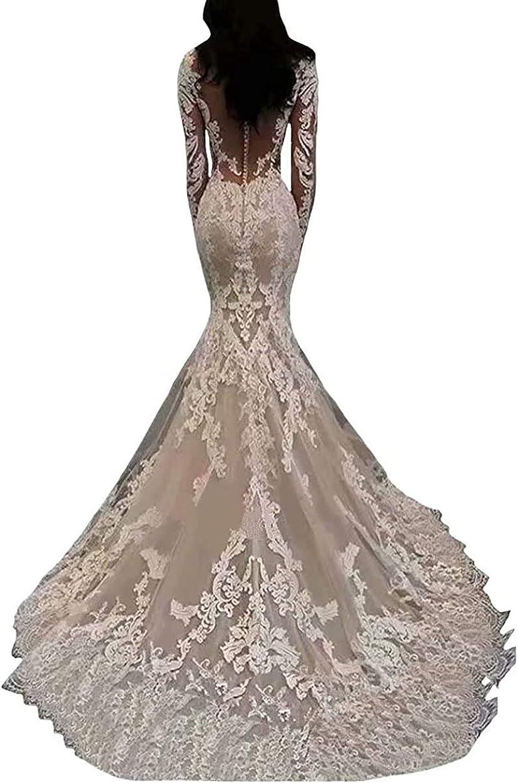 Melisa Women's Illusion Elegant Mermaid Wedding Dresses for Bride with Train Lace Applique Beading Beach Bridal Gown