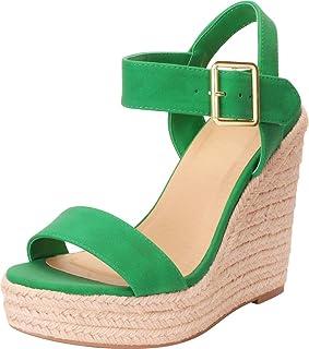 4d5ee210933d Cambridge Select Women s Open Toe Buckled Ankle Strap Espadrille Platform  Wedge Sandal