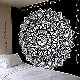 Dremisland Tapisserie Murale Mandala Hippie Indienne Bohème Tapisserie Noir et Blanc Psychédéliqu Tenture Murale Tapis Mural Serviette de Plage (L / 148x200cm)