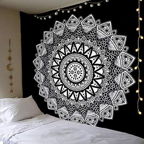 Dremisland Tapiz de Pared Mandala Bohemio Indio Tapicería de Hippie Colgante de Pared Blanco y Negro Tapestry Toalla de Playa Manta de Picnic Estera Tela Playa (L / 148 X 200 cm)