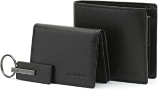 Two pieces wallet for men from Calvin Klein, keychain, leather, black