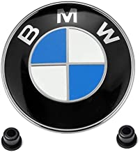 OSIRCAT for BMW Emblems Hood and Trunk, 1 PC BMW 82mm Logo Replacement + 2 Grommets for ALL Models BMW E30 E36 E46 E34 E39...