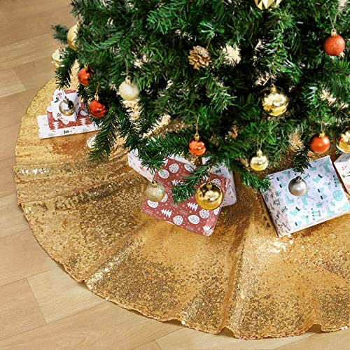 QueenDream Tree Skirt Gold 36 inch Sparkly Christmas Skirt Sequin Fabric Decorative Mat Base Cover for Christmas New Year Party Holiday Home Decorations