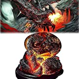 ZHEYANG Juguetes Dinosaurios Escultura de Resina de Huevo de dragón Transparente de Cristal de ensueño, Adorno de Escritorio, Escultura de Huevo de dragón de Cristal, Recuerdo Model:G01509(Color:EI