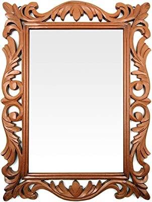 THE KRAFT INTERNATIONAL Decorative Handcrafted Wooden Wall Mirror for Bedroom Home Décor Living Room Bathroom (L x W x H) (60 x 45 x 1.9) cm