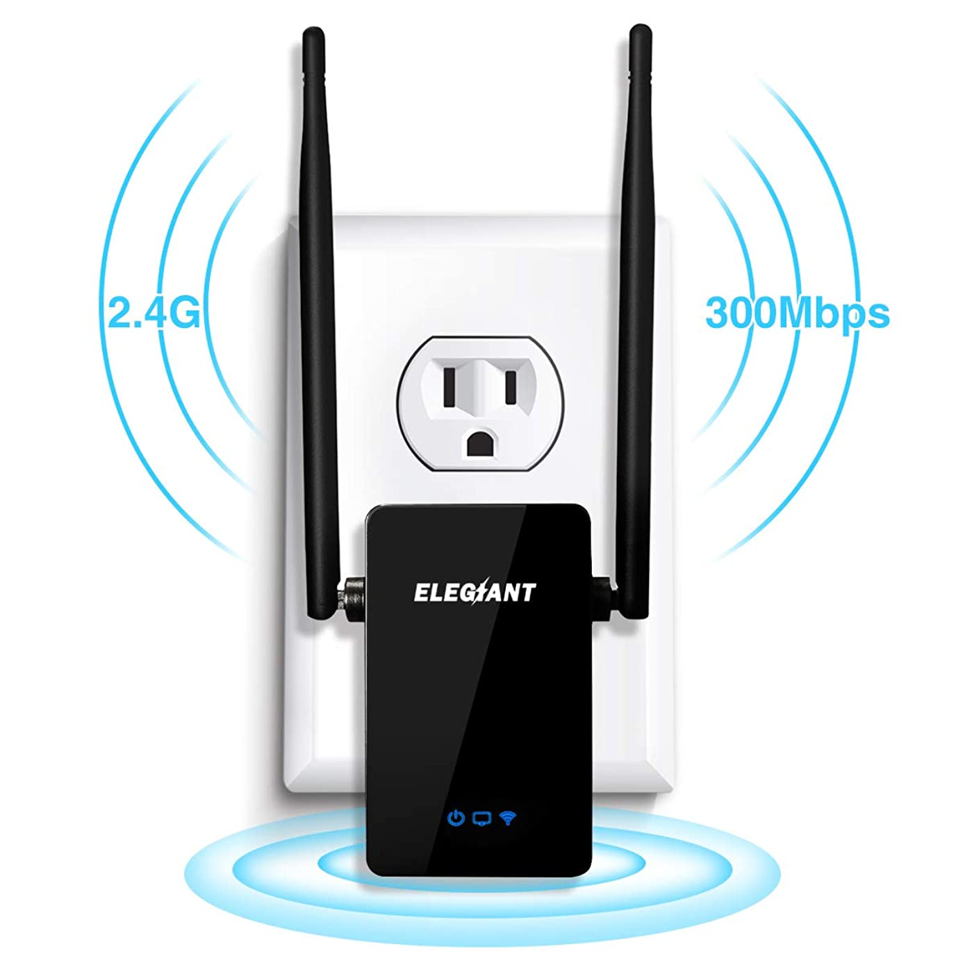 Wireless WiFi Repeater, ELEGIANT 300Mbps WiFi Range Extender Signal Amplifier Booster Supports Router Mode/Repeater/Access Point, with High Gain Dual External Antennas and 360 Degree WiFi Coverage