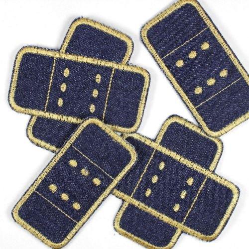 Flicken zum aufbügeln Pflaster Set 4 patches Buegelflicken Jeans dunkelblau gold Aufbuegler Knieflicken Hosenflicken