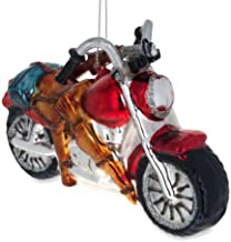 BestPysanky Hunter's Motorcycle Glass Christmas Ornament