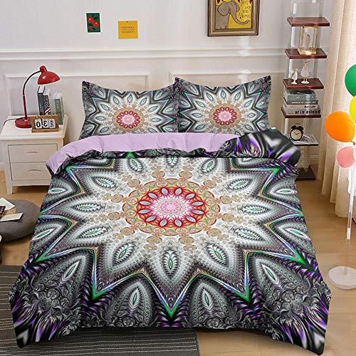 HGFHKL 3D Mandala Purple 3 Piezas Juego de Cama de Estilo Bohemio Edredón Funda de Almohada Sábana Decoración para el hogar Textil 3pcs