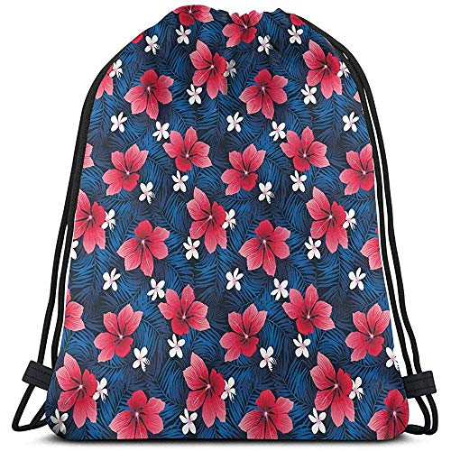 jenny-shop Bolsas de Mochilas con cordón Impreso, patrón de Flora exótica con Flores de Hibisco y Plumeria Hawaiano