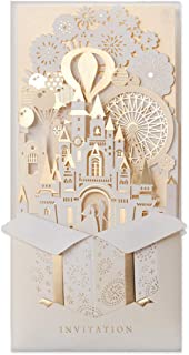 JOFANZA 50 Pieces Laser Cut Wedding Invitations Cards 3D Fairy Gold Gilding Bride and Groom in Castle Invitation for Engagement Bridal Shower Anniversary Marriage Mr Mrs Invites (Set of 50pcs)