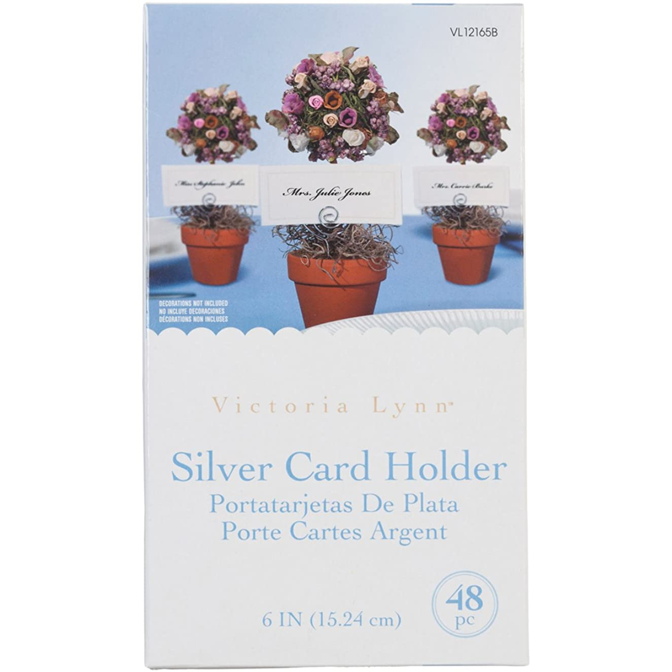 Darice VL12165B Wedding Circle Swirl Place Card Holder Pick, 6-Inch, Silver, 48-Pack