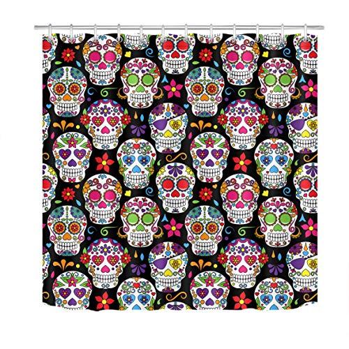 Cortinas de chuveiro LB engraçadas com caveira de açúcar para banheiro com caveiras de flores do México Dia dos Mortos Cortina de chuveiro para Halloween Decoração de banheiro 152 x 182 cm Tecido à prova d'água com 10 ganchos