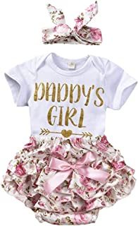 0-24M Infant Baby Girls Letters Romper+Floral Shorts+Headband Clothes Set
