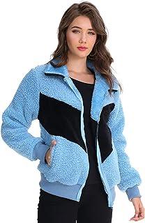 Blingfit Abrigo de forro polar de manga larga con solapa y cremallera para mujer de piel sintética con bolsillos