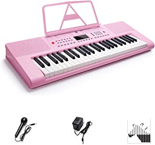 Digital Electric Keyboard Piano, Premium 49-Key Portable Electronic Keyboard Piano for Beginners, Adapter & Battery Power Supply, Pink, by Vangoa