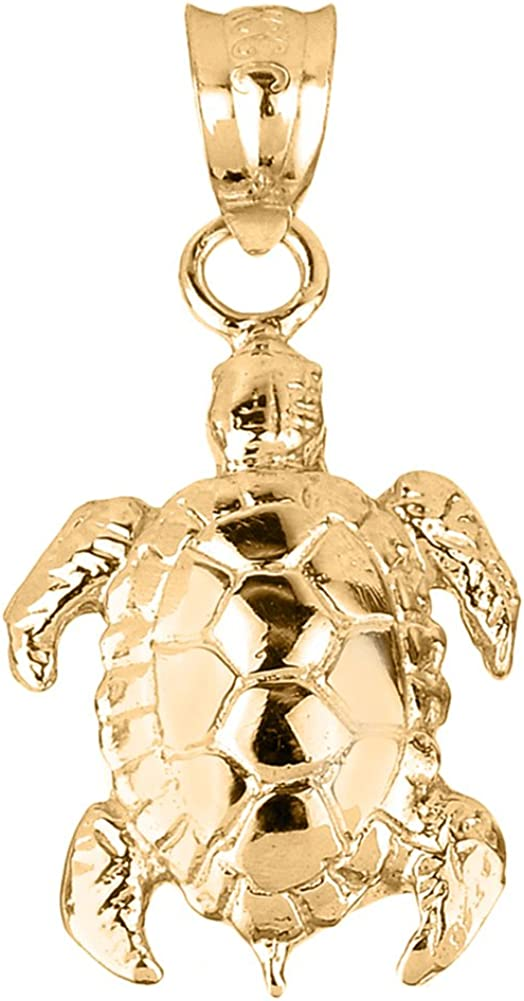 Sea Opening large release sale Life Collection 10k Solid Shell Credence Yellow Detailed Gold Turtle
